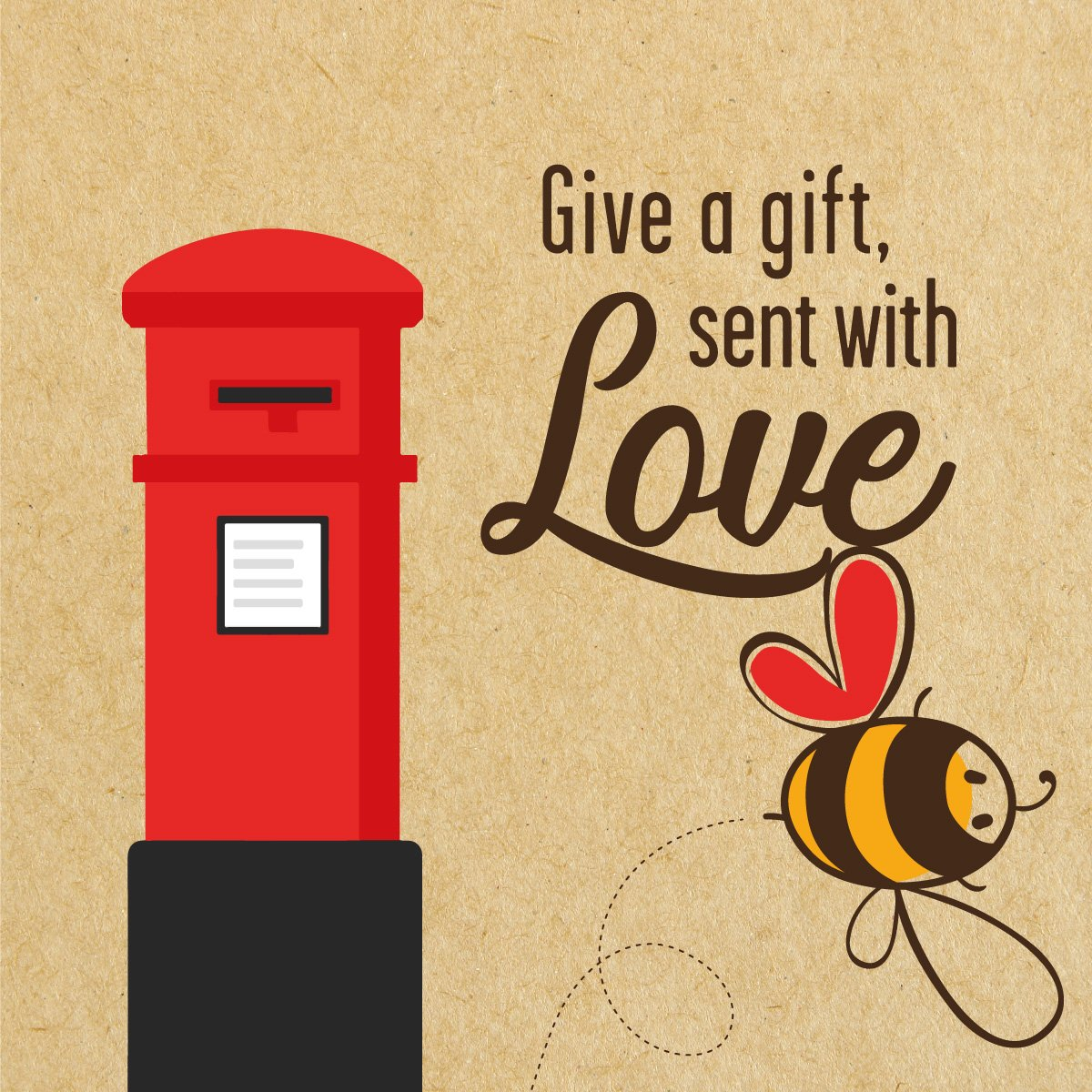 Give a gift, sent with love postbox