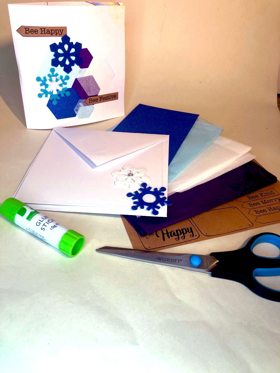Greetings Card snowflakes & hives edited